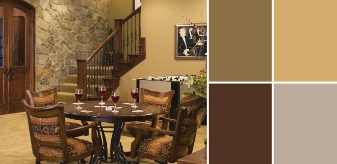 wall color rustic alder cabinets | Palette Guide To Basement Paint Colors | Home Tree Atlas