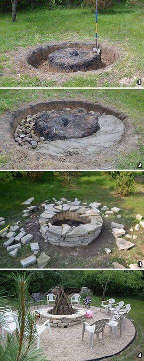 Lovely  gro artige DIY Ideen um aus ein paar Pflastersteinen eine sch ne Feuerstelle g nstig zu bauen