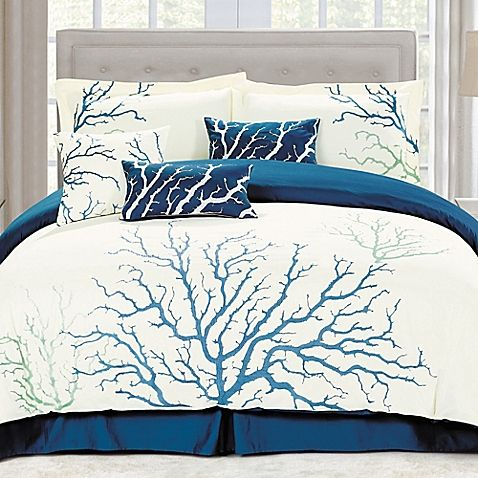 Rest in serenity night after night with the blissful Panama Jack Coral Comforter Set. With a royal blue coral pattern embroidered on a crisp white ground, the beautiful bedding evokes a tranquil ocean paradise and a calming, restful atmosphere.