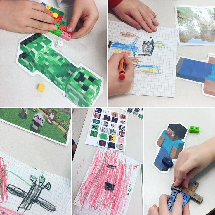 "34 Likes, 1 Comments - Laura King (@kindergartenteachertired) on Instagram: ""Printed pictures, small linking cubes, graph paper, pencil crayons and crayons to explore Minecraft…"""