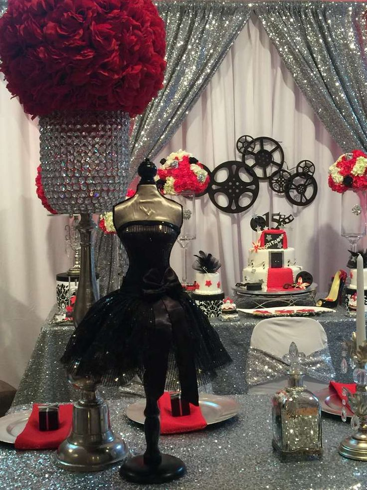Glam Hollywood Quinceañera birthday party! See more party ideas at CatchMyParty.com!