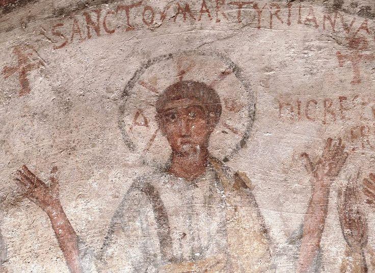 Catacombe di San Gennaro, Napoli. Affresco. IV secolo. San Gennaro