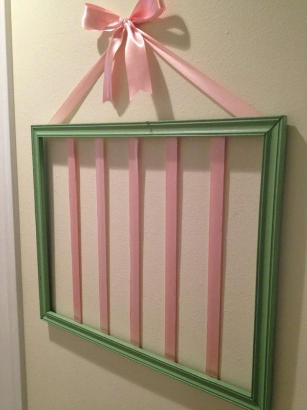 DIY Hair Bow Holder- just ribbon and a picture frame. Can add hooks at bottom for headbands.
