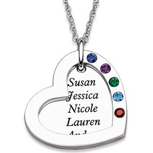 Mother's Heart Necklace with Names and Birthstones - in silver or gold.