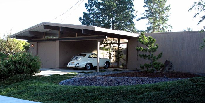 An Eichler Mid-Century Modern exterior complete with Porsche 356 in the carport