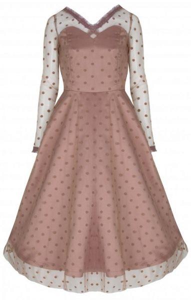 LindyBop vintage šaty Pearl, pudrové s puntíky