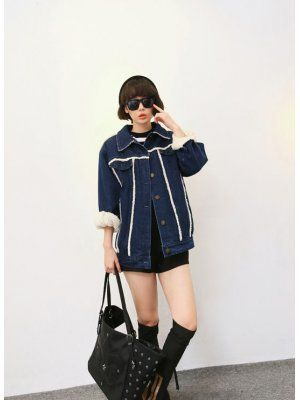 Euro Style POLO Neck Batwing Sleeve Thicken Denim Jacket
