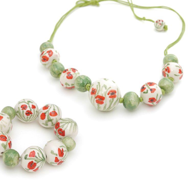 Collana e bracciale in ceramica #Papaveri. Italian ceramic necklace and bracelet Papaveri (#Poppies). - by Ciprialavica