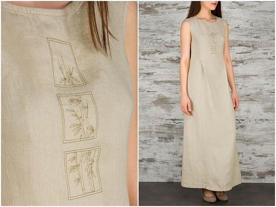 Long Linen Dress - Beige Linen Maxi Dress - Linen Clothes for Women - Elegant Flax Dresses - Bamboo Embroidery - Pure Linen Clothing - Long Sleeveless Linen Dress
