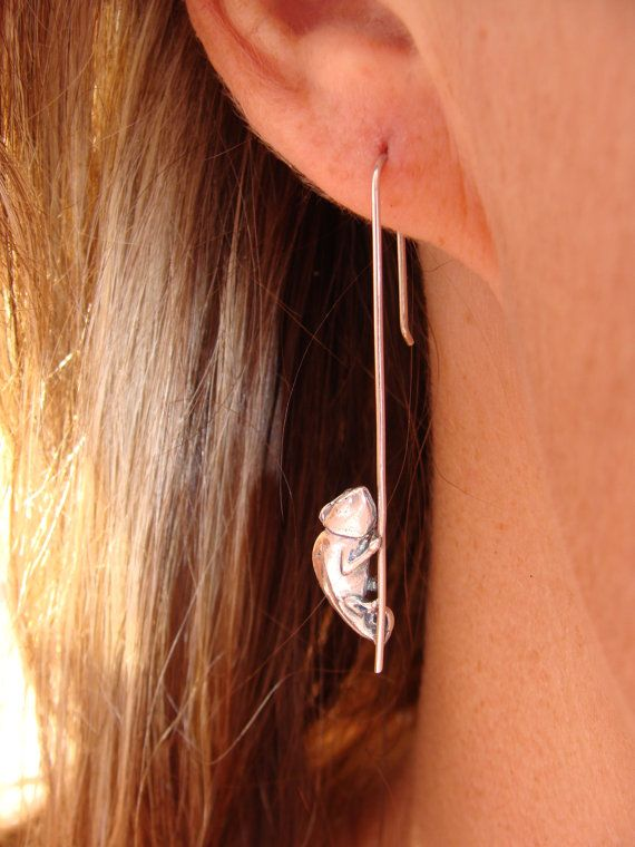 Pole Dancing Chameleons Earrings drops by GolfishJDS on Etsy