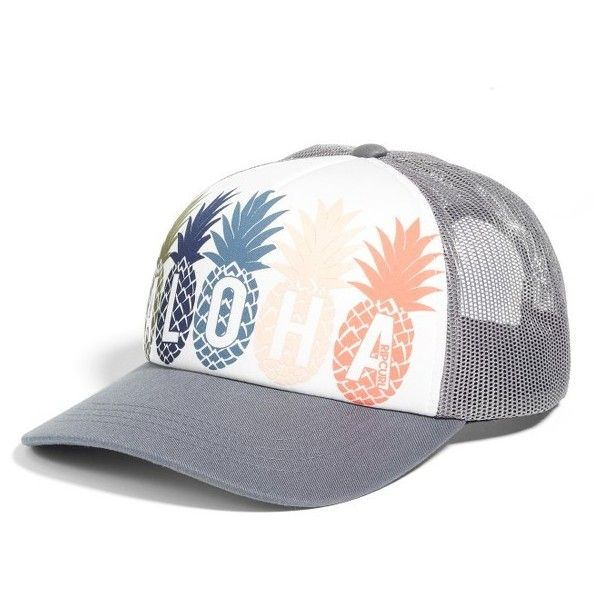 Women's Rip Curl Tropical Fruit Twill Cap ($22) ❤ liked on Polyvore featuring accessories, hats, dark grey, twill cap, rip curl, truck caps, rip curl hats and adjustable hats