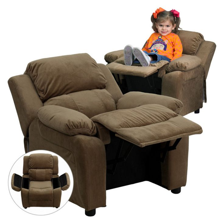 Flash Furniture Deluxe Heavily Padded Microfiber Kids Recliner with Storage Arms - Brown - BT-7985-KID-MIC-BRN-GG