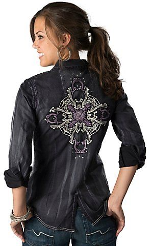 Rock 47™ by Wrangler® Women's Black with Purple and Silver Embroidery Long Sleeve Y-Neck Western Shirt | Cavender's