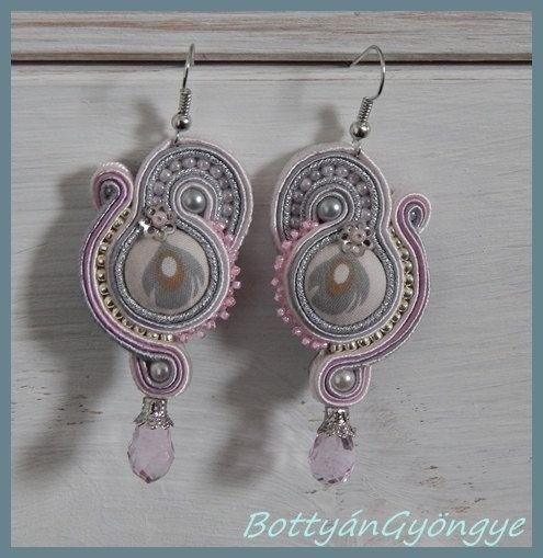 Silver rose asymmetric soutache earrings by BottyanGyongye on Etsy