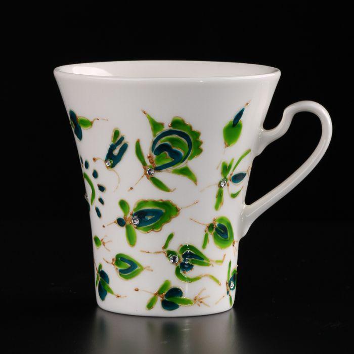 Ręcznie malowany kubek z cienkiej porcelany