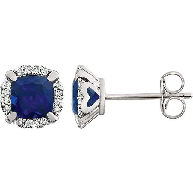 14k White Gold Cushion Created Blue Sapphire & 1/10 CTW Diamond Halo Earrings