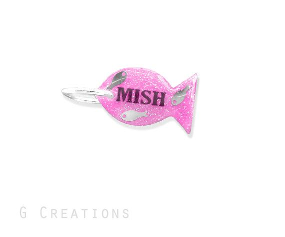 Pink Fish Cat ID Tag Necklace  Glow in the by GabriellesCreations