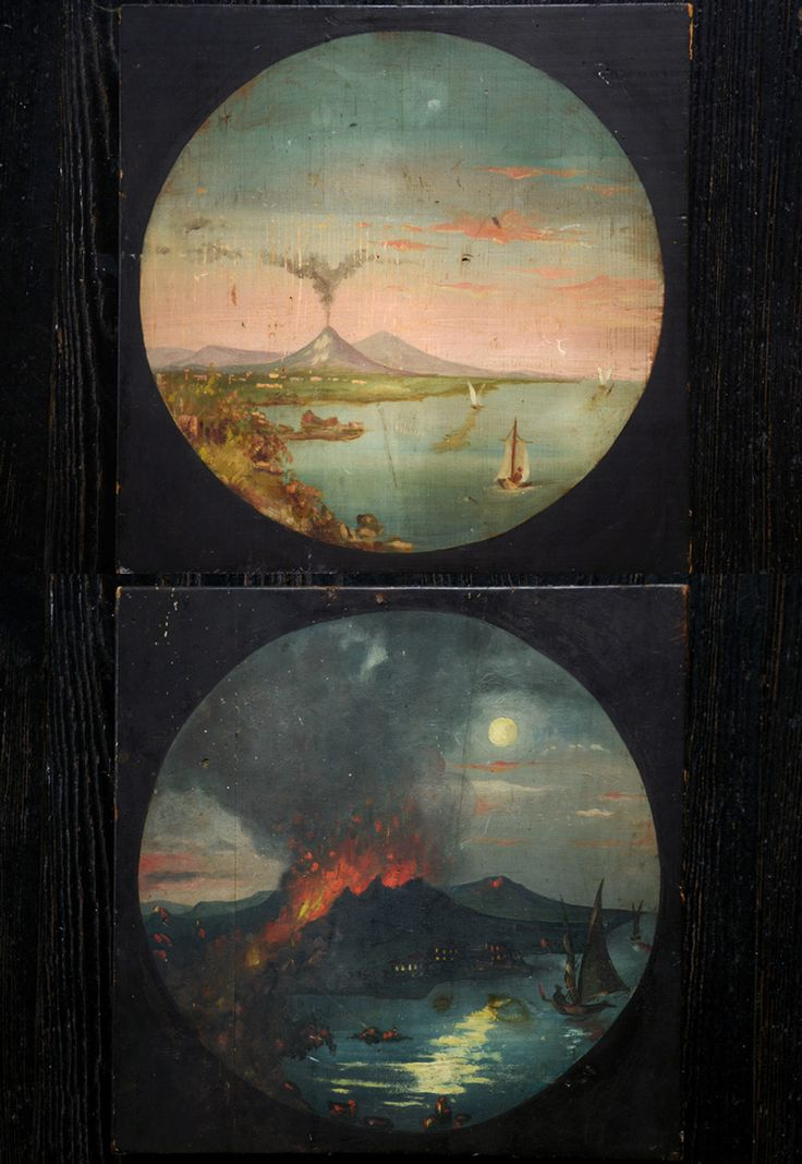 19th Century Folk Art Paintings of Vesuvius Before & After (sold)  Finally got my hands on some nice Volcano paintings.  These are painted on thick wooden slabs, and are unusual for their folkiness.  Vesuvius paintings usually come from Italy, but these have a very American quality I think.  The before painting almost looks a little Hudson-Rivery.