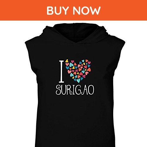 Idakoos - I love Surigao colorful hearts - Cities - Hooded Sleeveless T-Shirt - Cities countries flags shirts (*Amazon Partner-Link)