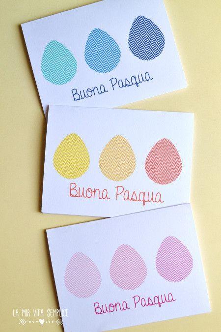 Biglietti per gli auguri di Pasqua, da stampare gratis in 3 varianti di colore
