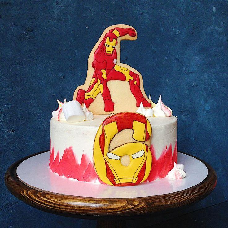 Торт с пряниками Торт с железным человеком ironman cake