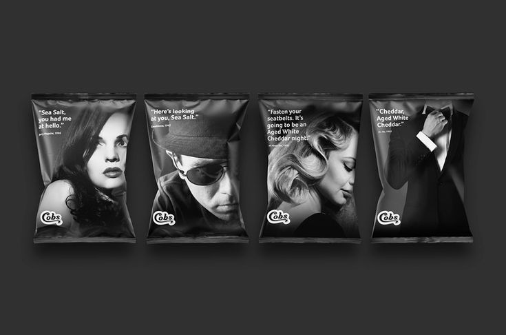 Cobs, makers of fine natural popcorn, sponsored the 2016 Melbourne International Film Festival (MIFF). Giveaway sample packs of their delicious popcorn featured two flavours – Sea Salt and Aged White Cheddar. Replacing the usual popcorn packaging, these dynamic minimalist designs featured skewed versions of famous movie quotes. The promotion was a smash hit!  Designed by Watts Design