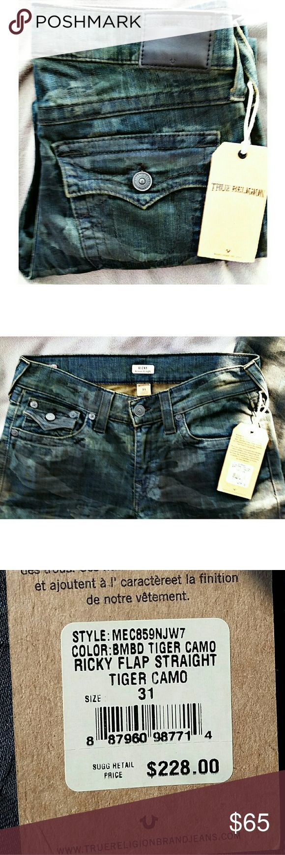 True Religion Jeans Men's True Religion Jeans *NWT* Ricky Relaxed Straight, Tiger Camo, Size 31. True Religion Jeans Relaxed