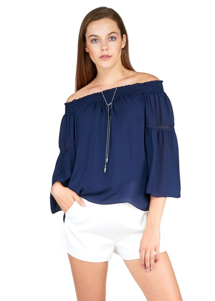 Silk Georgette Off Shoulder Blouse