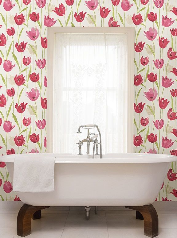 Pink And White Bathroom Decor Pretty Tulips Bathroom Wallpaper In A Fresh  Bathroomw Ith A Modern White Tub Pink Hand Painted Tulips   Finch   Kitchen  Bath ...
