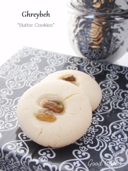 Ghraybeh: Middle Eastern butter cookies. (Sub Ouzo for rosewater and form into rings - yum!)