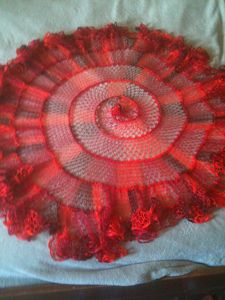 Kelp Forest Shawlette - ruffle yarns can make more than the twirly scarves! Free pattern!