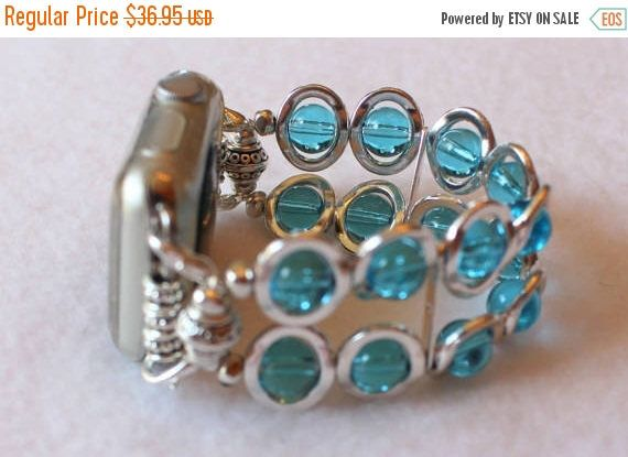 On Sale Ends Monday PM Apple Watch Band Silver Ovals and Aqua Beads, Band for Apple Watch 38mm, Watch Band for Apple Watch 42mm, Apple IWatc by jewelrysldesigns on Etsy https://www.etsy.com/listing/516651743/on-sale-ends-monday-pm-apple-watch-band