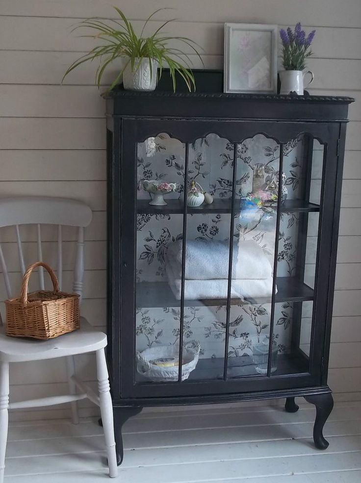 Vintage Shabby Chic Glass Fronted Display Cabinet Cupboard Storage Annie Sloan in Home, Furniture & DIY, Furniture, Cabinets & Cupboards | eBay