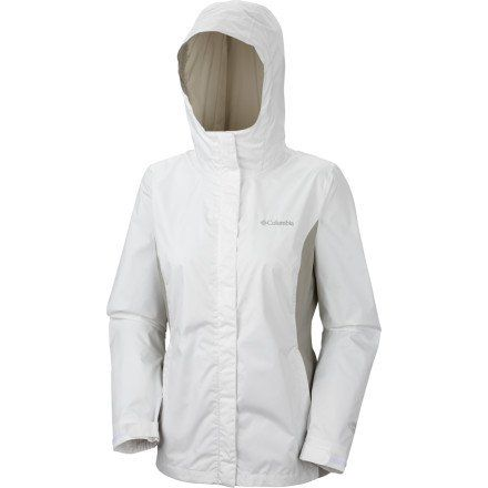 Columbia Women's Arcadia II Jacket, White/Flint Grey, Medium Omni-tech waterproof/breathable fully seam sealed. Attached, adjustable storm hood. Drawcord adjustable hem. Zippered hand pockets. Packable into hand pocket.  #Columbia #Apparel