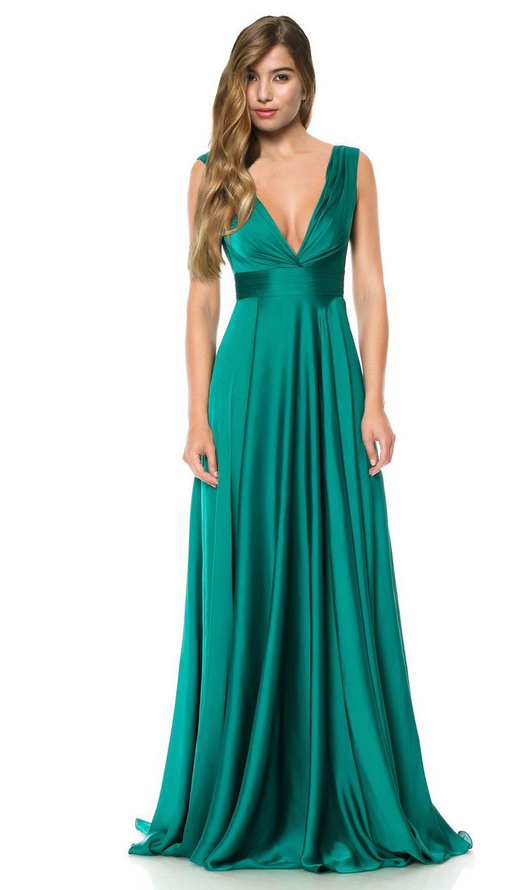 Alugue vestidos de Cristallini | Vestido longo em verde-esmeralda