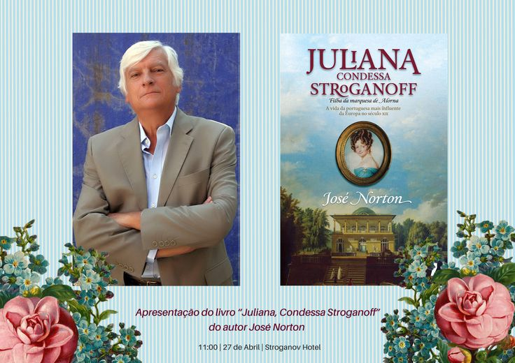 "On the 27th of April at 11am at Stroganov Hotel will take place a presentation of the book ""Juliana, Condessa Stroganoff"" by the writer José Norton, where you will have a unique opportunity to buy and / or sign your book. We also want to invite you for a lunch ""à la russe"" which will follow-up the presentation. Value per person: 12.50€ Make your reservation now!"