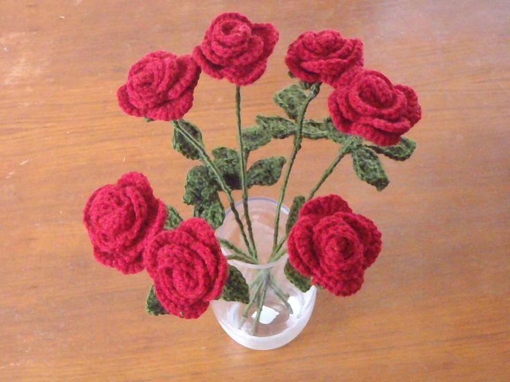 Crochet Roses for Oma by maggieambi.deviantart.com on @deviantART