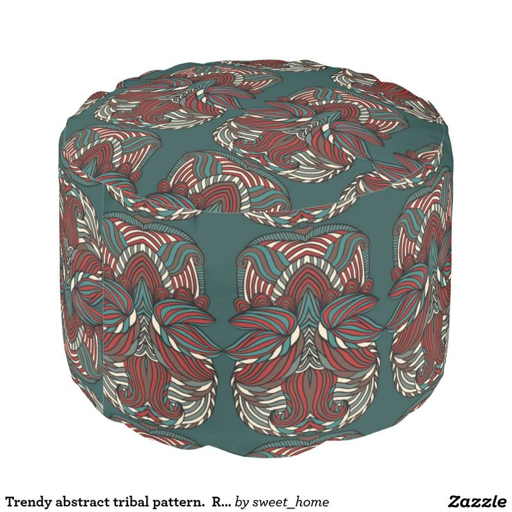 Trendy abstract tribal pattern.  Red and green. Pouf  For home design and decor. Beautiful home accessories ideas. Luxury elegant style.