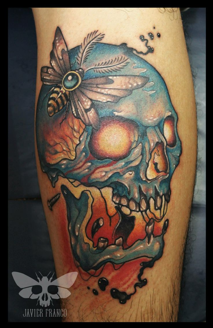 neotraditional skull blue skull tattoo by javier franco ...