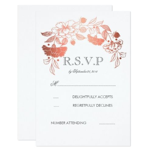 Rose Gold White Peonies Laurel Wedding RSVP Cards