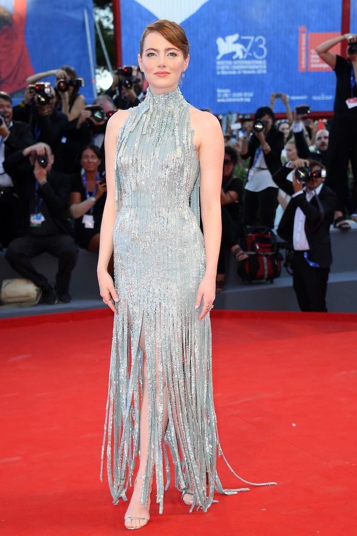 Emma Stone in Atelier Versace at the 2016 Venice Film Festival