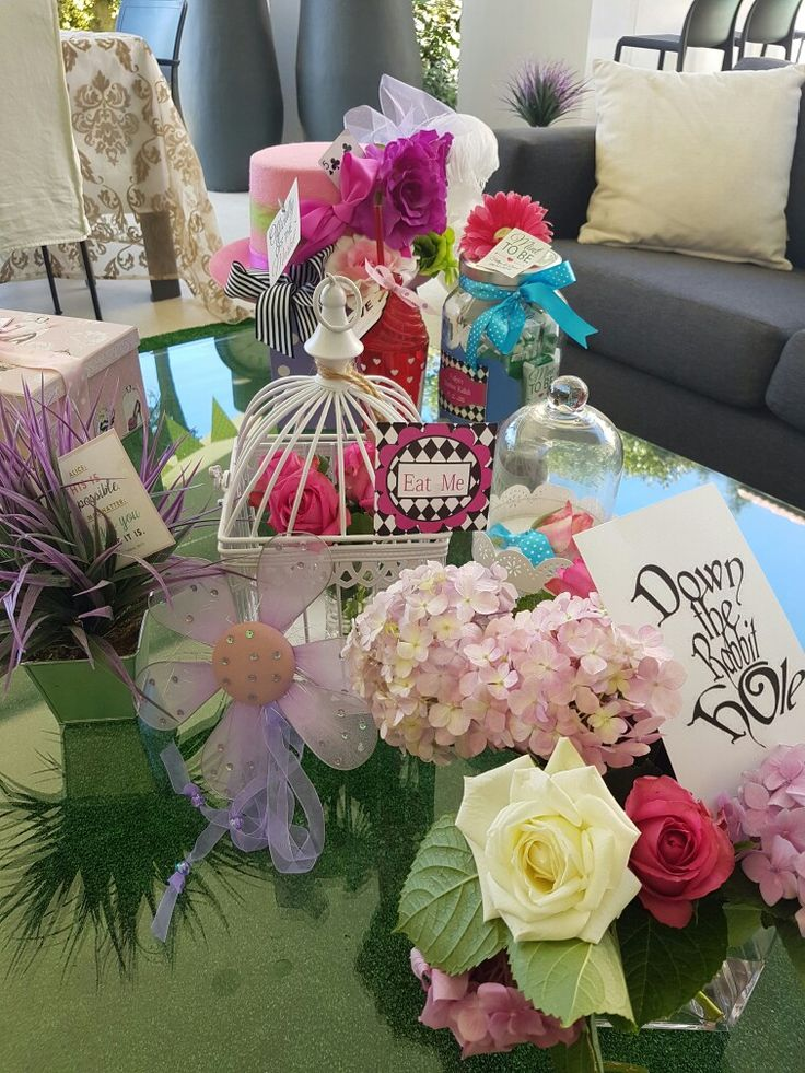 Mad Hatters Tea Party Bridal Shower. - Roses and ribbons and teapots and bunnies..