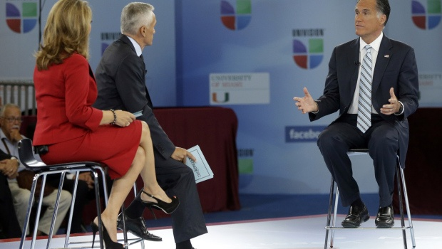 """sept. 19  Romney: 'My campaign is about the 100 percent'    Republican presidential candidate and former Massachusetts Gov. Mitt Romney participates in a Univision """"Meet the Candidates"""" forum with Jorge Ramos and Maria Elena Salinas in Miami, Wednesday, Sept. 19, 2012.(Credit: AP Photo/Charles Dharapak)   (CBS News) GOP nominee Mitt Romney found himself on the def"""