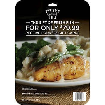 Bonefish Grill Gift Cards, 4/$25