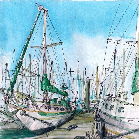 Boats in the harbor. Santa Cruz, California.