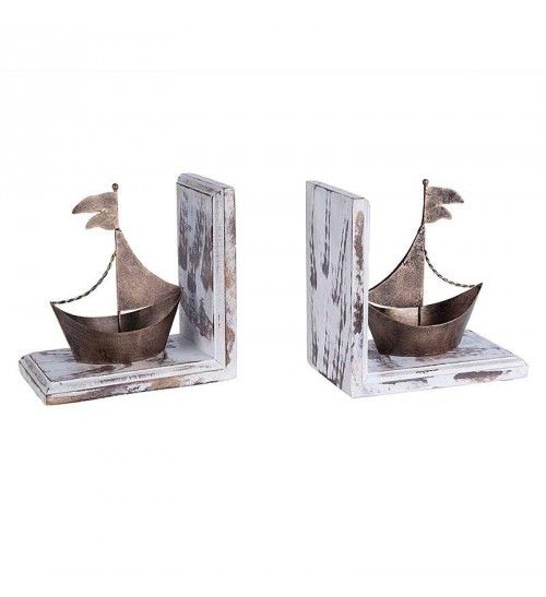 S_2 METAL_WOODEN SHIP BOOKEND IN BRASS COLOR   40(20)Χ12Χ20