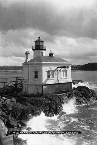 Picture on this vintage photograph postcard is the Bandon #Lighthouse in Bandon, #Oregon. http://dennisharper.lnf.com/