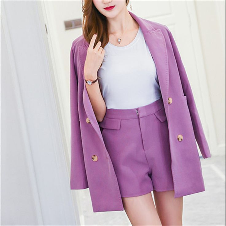 Rugod New Korean Style 2 piece set women suit Purple Blazer and Shorts Femme Double Breasted Lapel Blazer two piece sets outfit #Affiliate