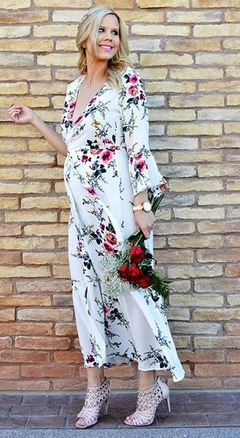 Discover Spring Dresses in the latest styles at Vee - White Chiffon Red & Greenish Floral V Neck Beach Dress