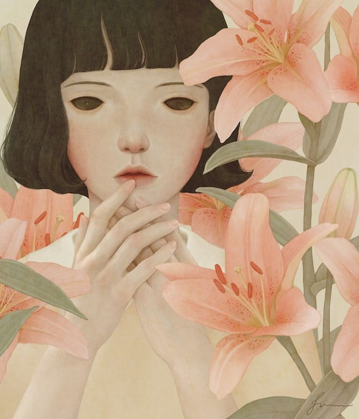 Black eyed girl with lilies by Jiwoon Pak